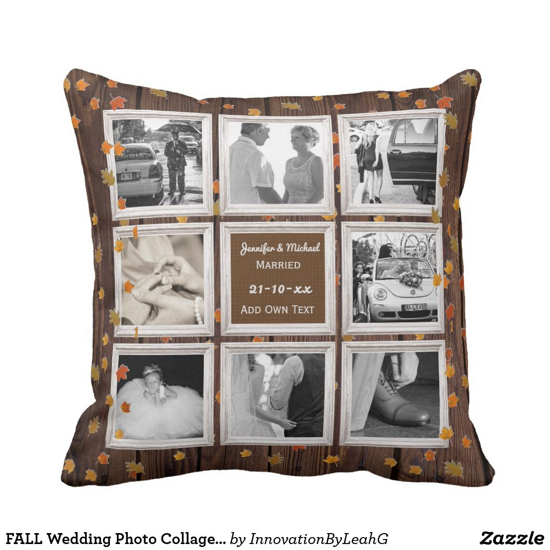 Fall wedding photo collage or anniversary rustic throw pillow gift