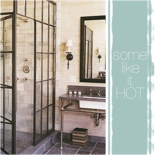very cool industrial/rustic bathroom, love the shower screen!