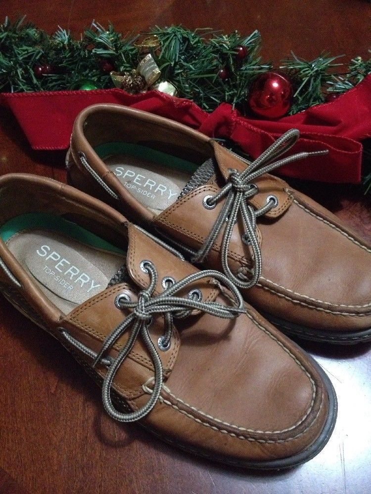 7d38662ce7e Sperry top-sider mens boat shoes lace up size 9 M Brown good  conditionPreowned
