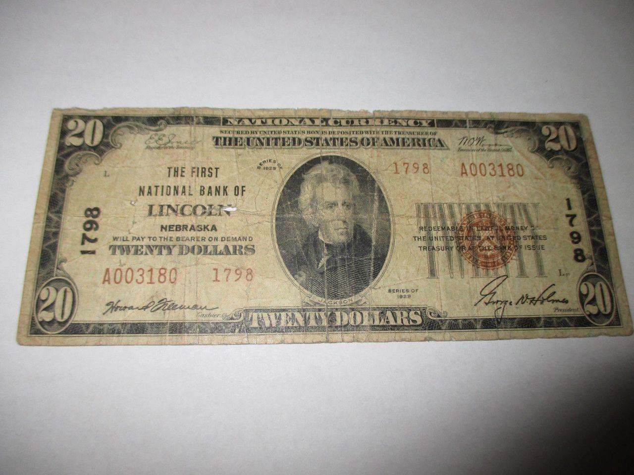 20 1929 lincoln nebraska ne national currency bank note