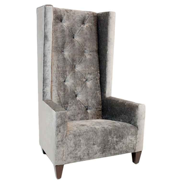 Best Single High Back Tufted Gray Silk Velvet Chair From A 400 x 300