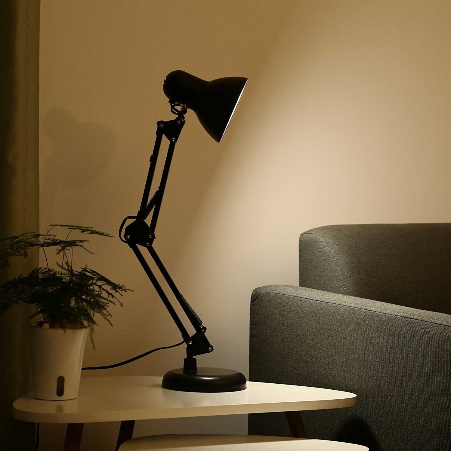 archi tect Lamp for Office//Home//Dorm Blac Table Lamp Extra LED Bulb /& Clamp Metal Structure Adjustable Shade posizione wafting Swing Arm Desk Lamp