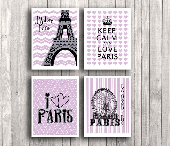 African Violet Digital Art Print Set Eiffel Tower By Eeartstudio