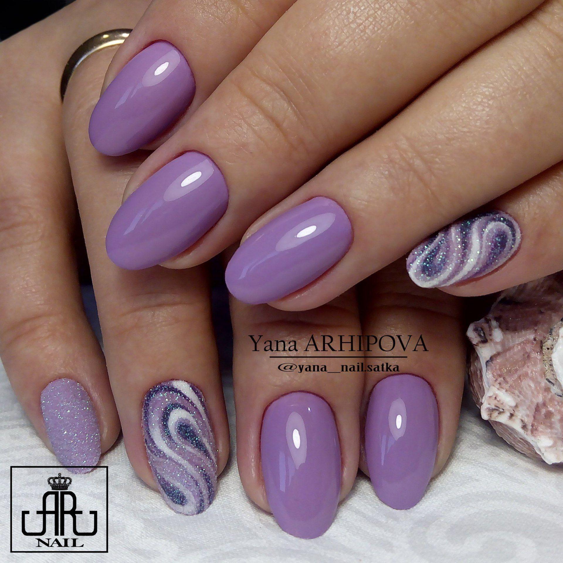 дизайн ногтей фиолетовый 2