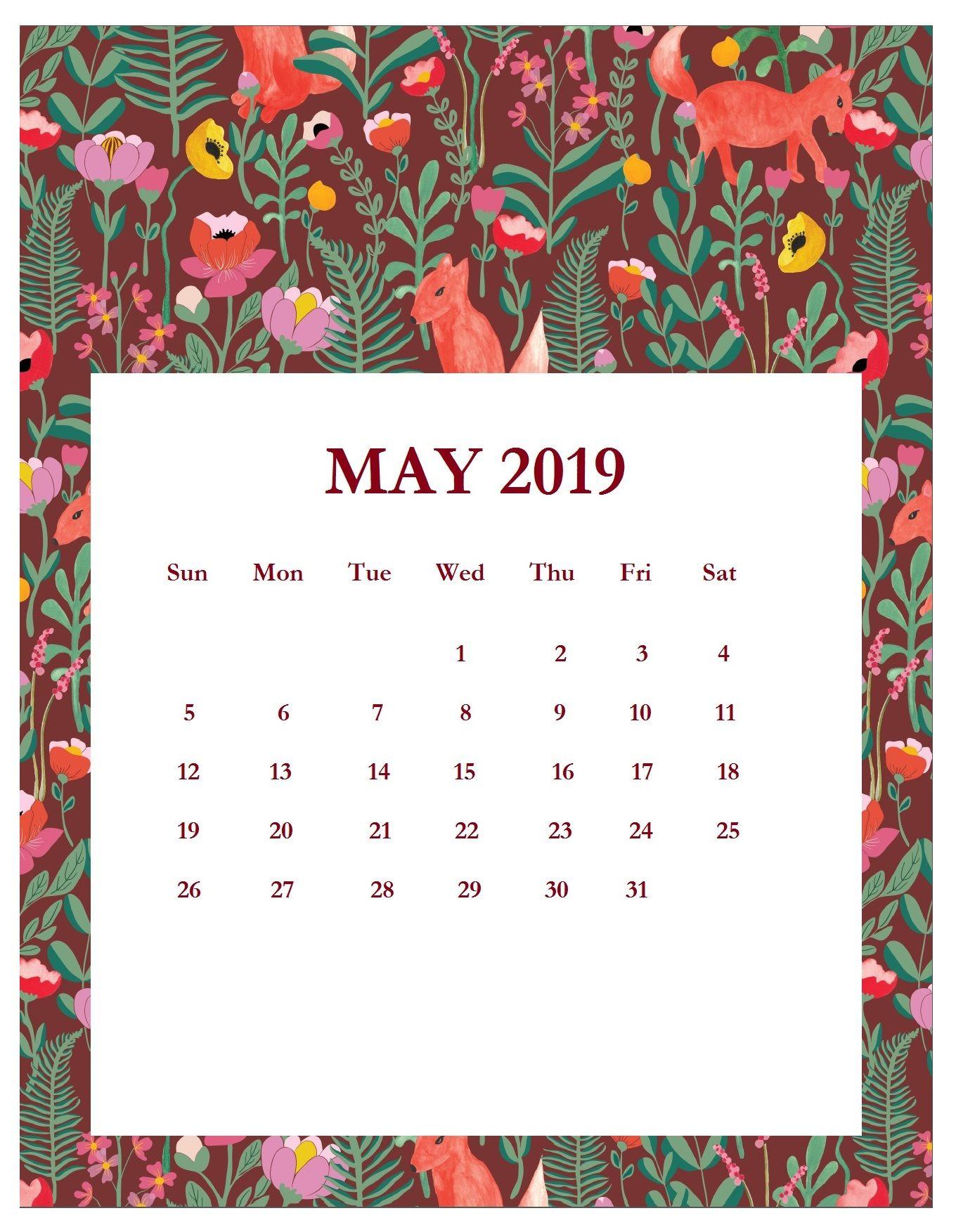 Pretty Calendars For February-May 2019 Print Beautiful May 2019 Calendar Template   250+ 2019 Calendars