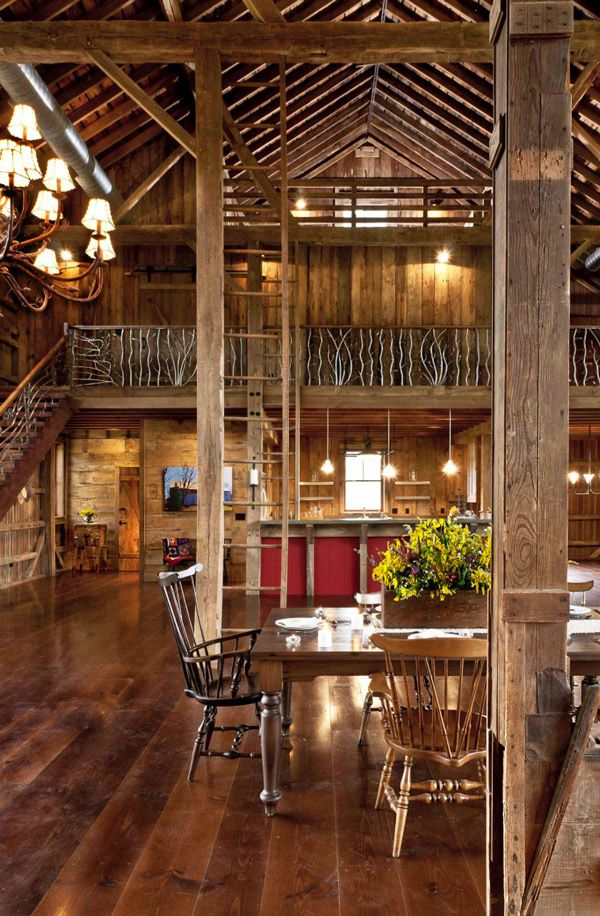 An Ohio based barndominium (converted barn) is full of high ceilings and reclaimed wood from the original structure.