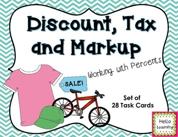 discount tax and markup task cards working with percents percents cards and math. Black Bedroom Furniture Sets. Home Design Ideas