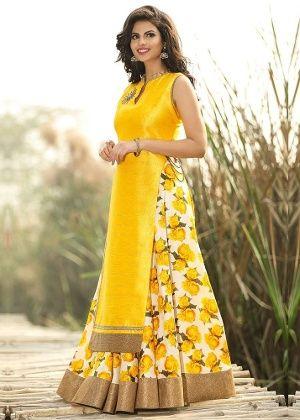 Radadiyatrd Womens Banglori Silk Gown Yellow Homeshop18 Offers