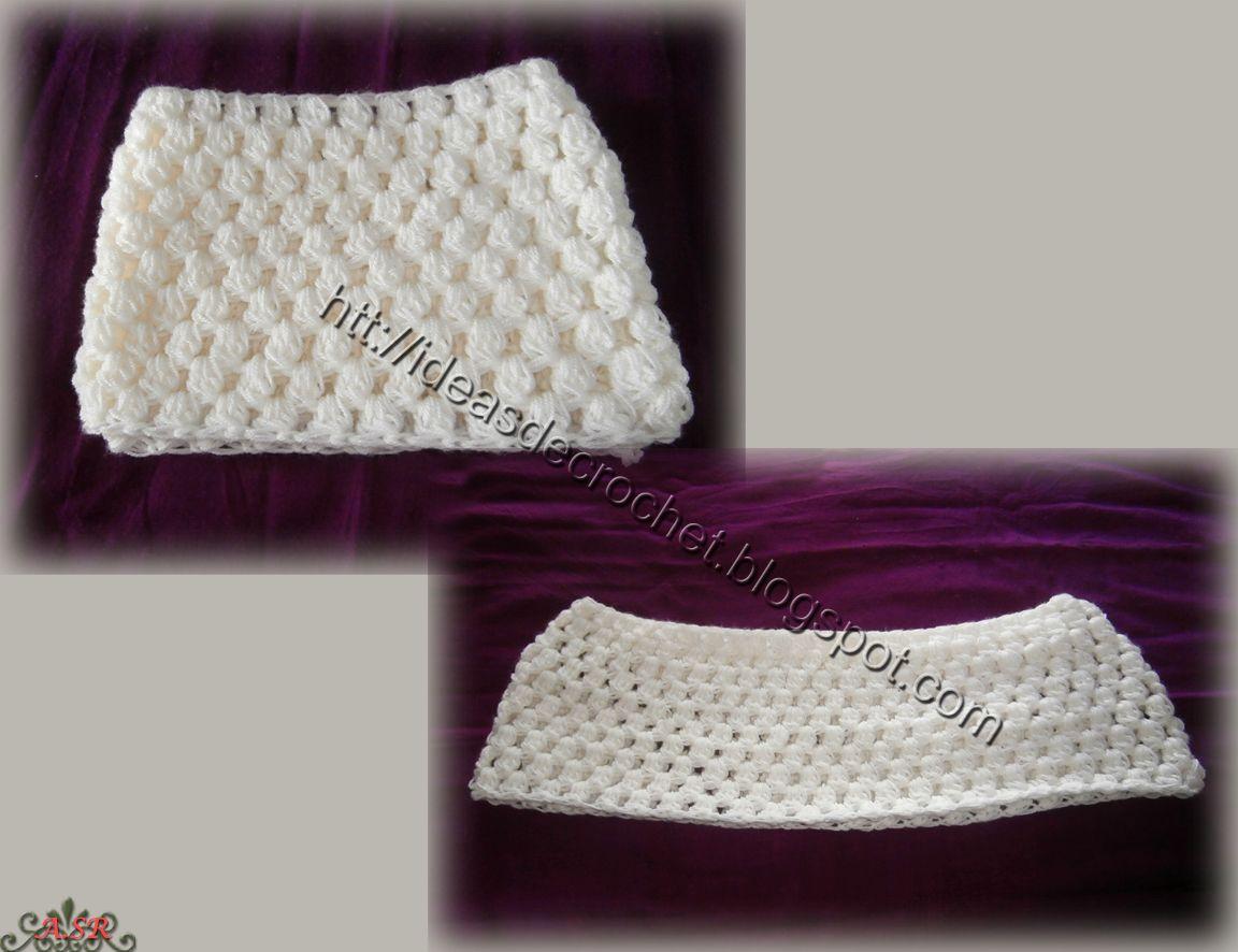 Bufanda cuello para señora color crema - detalles -