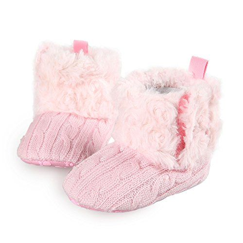 Arshiner Toddler Girls Fleece Woollen Fur Knitted Snow Boot (M(6-9mths), Pink(FBA))
