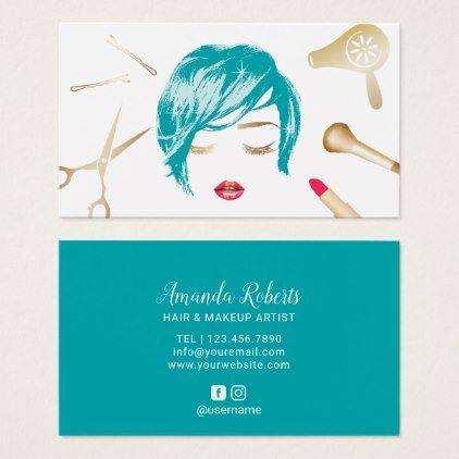 Hair Makeup Artist Short Haircut Girl Turquoise Business Card Zazzle Com Hair Business Cards Stylist Business Cards Girl Haircuts