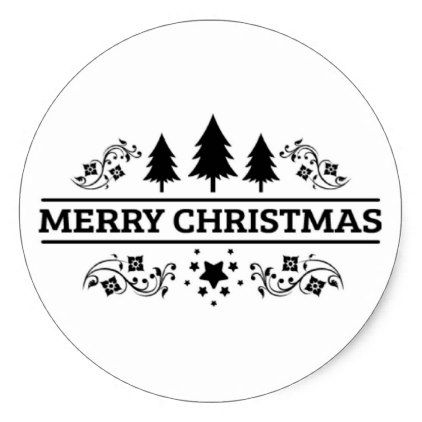 Merry Christmas 2020 Black And White Black White Merry Christmas Classic Round Sticker | Zazzle.in