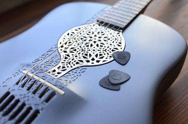 3 D Printer Turns Out Plastic Guitar Guitar Guitar Design Guitar Diy
