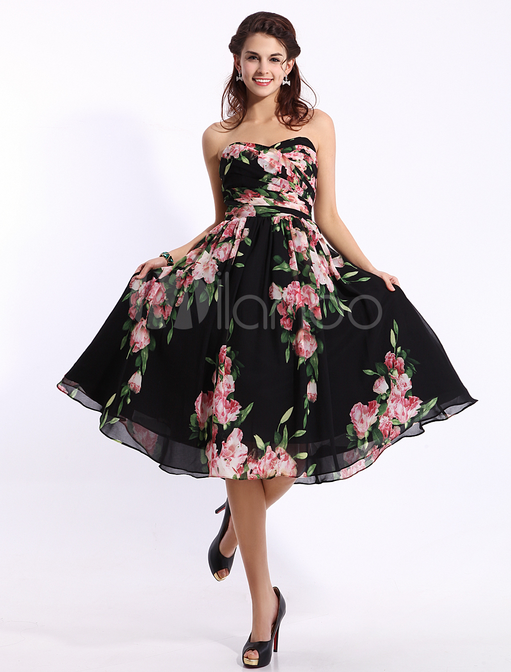 ddbbabdc363 Black Floral Print Dress In Knee Length Inspired by Ariana Grande at the Grammys  2014