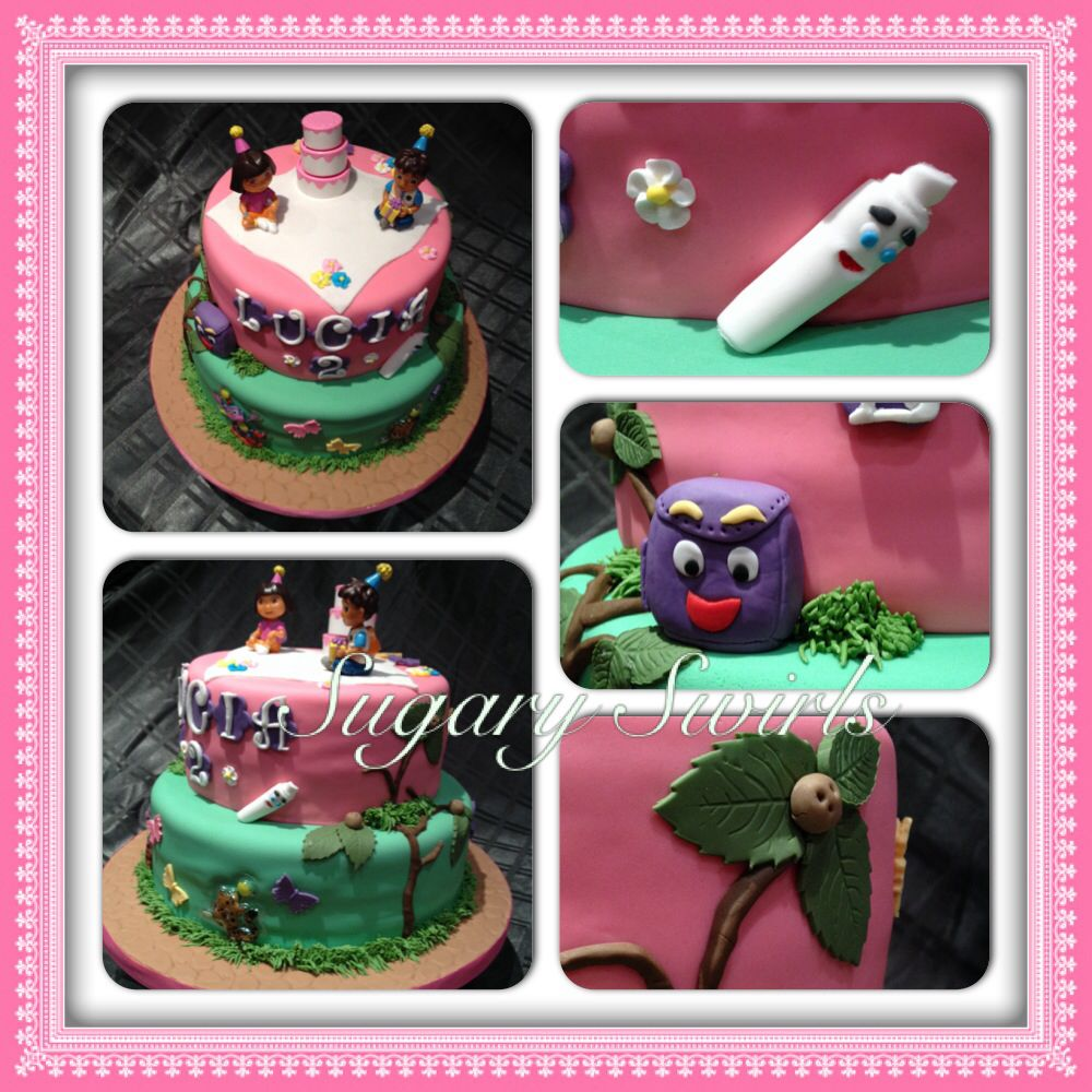 Peachy Dora The Explorer Themed Birthday Cake Peanut Nut Free Personalised Birthday Cards Cominlily Jamesorg