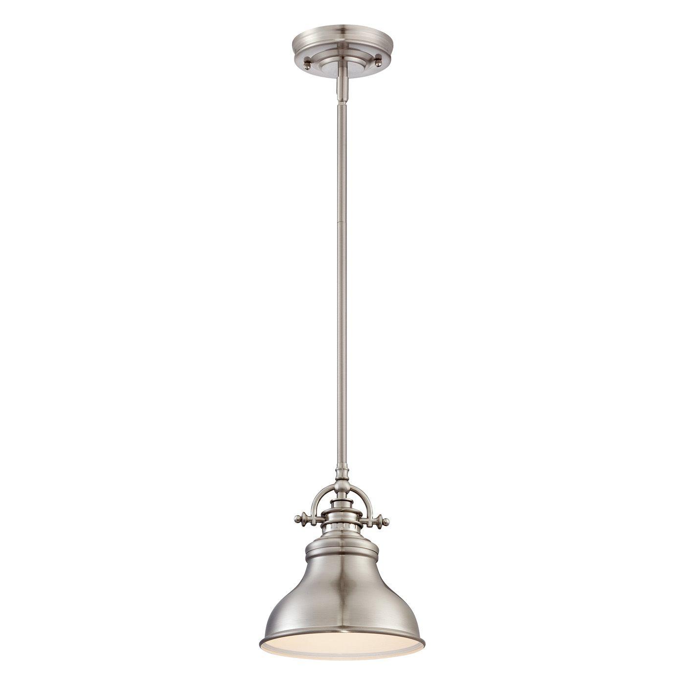 Quoizel Er1508 1 Light Emery Rod Hung Mini Pendant At Atg Stores Brushed Nickel Pendant Lights