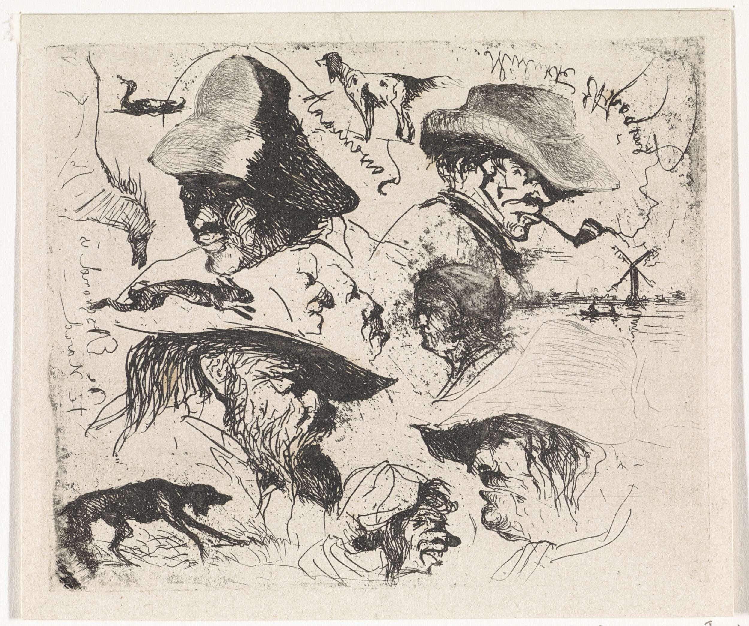 Johannes Tavenraat   Allerlei bij avond gemaakt, Johannes Tavenraat, 1819 - 1881   Studieblad met verschillende mannengezichten met hoofddeksels. Linksonder een hond. Midden rechts een molen aan het water.