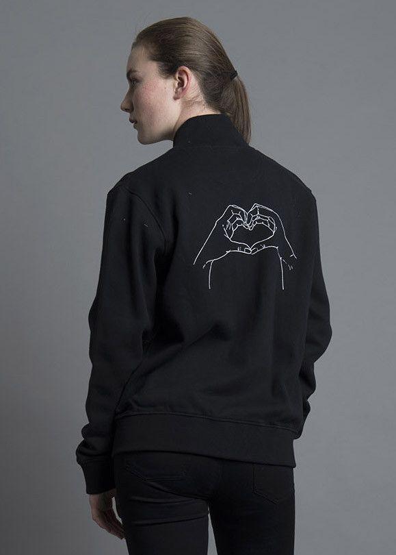 693b1ce98 Super soft bomber jacket with original Olive and Frank heart hands ...