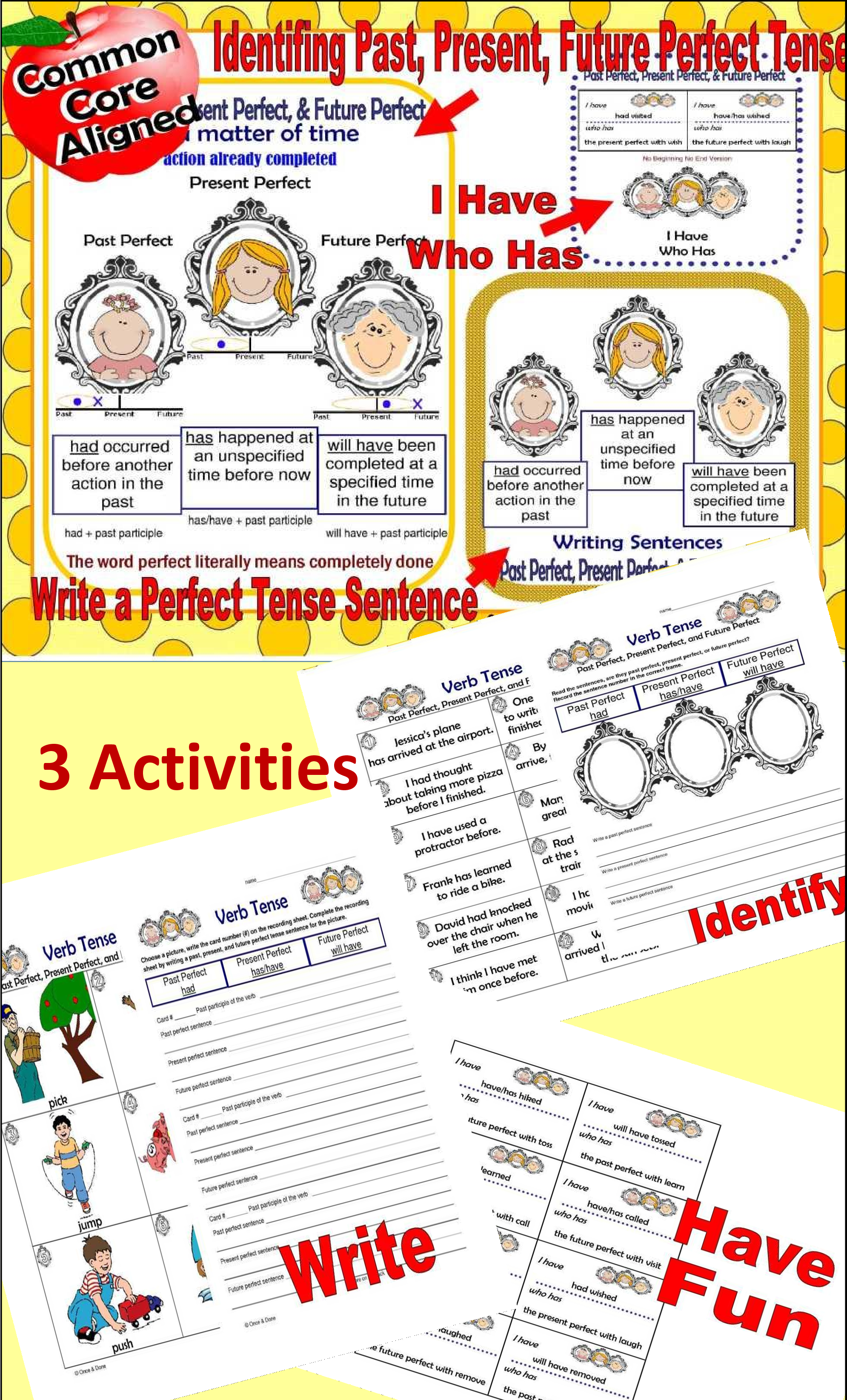 Perfect Tense Bundle Activity Writing Game