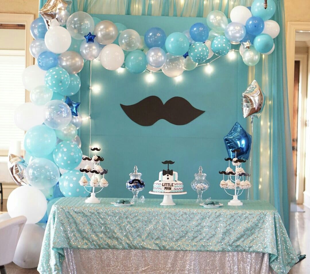 A Mustache Bash Baby Shower Backdrop For A Boy Might Also Be Used