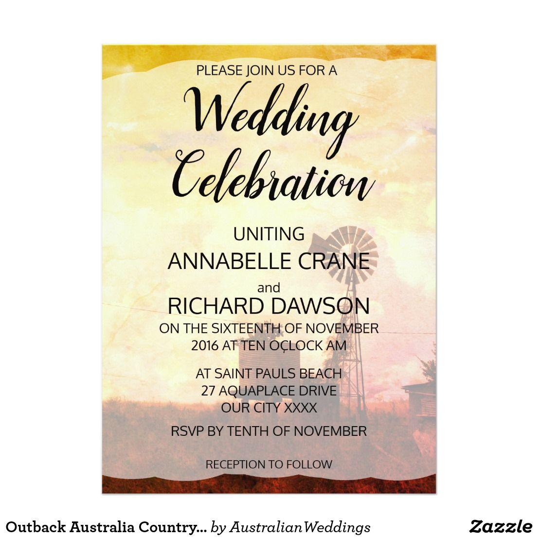 Outback Australia Country Wedding Invitations Zazzle Com