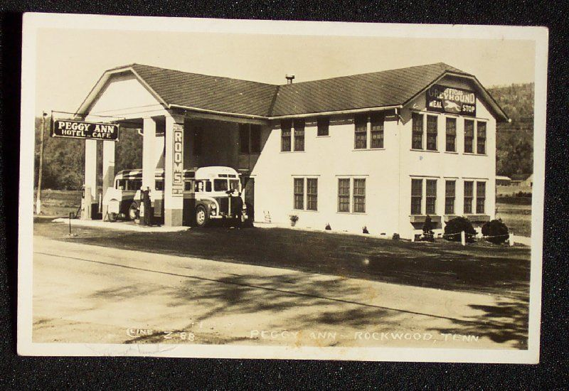 Greyhound Bus Peggy Ann Hotel Rockwood Tn Collectibles Postcards Us States Cities Towns Ebay