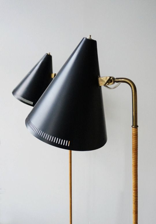 PAAVO TYNELL, Pair of floor lamps, model K10-10. Designed late 1940s, manufactured by Idman Oy, Finland. Material brass, painted alumium, cane wrapping and painted steel