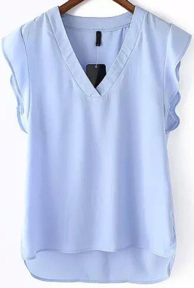 Light Blue V-Neck Ruffle Sleeveless Blouse