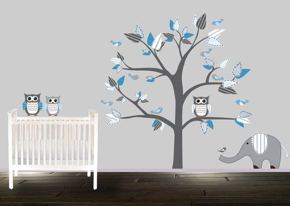 vinyle wall decal gar ons chambre stickers autocollants plateau arbre bleu gris rayures hiboux. Black Bedroom Furniture Sets. Home Design Ideas