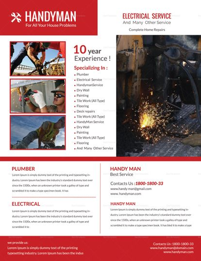 Electrical Handyman Flyer Template Pinterest Flyer template