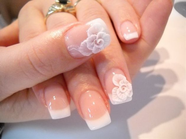 White Flower Nails Nail Art Designs Manicures Wedding Nails