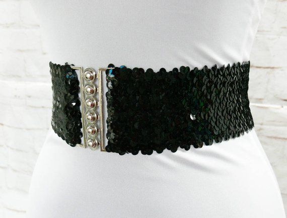8065bc5f8b9f7 Vintage 80s Disco Glam Rock Black Sequined Wide Stretch Belt Elastic 20-28