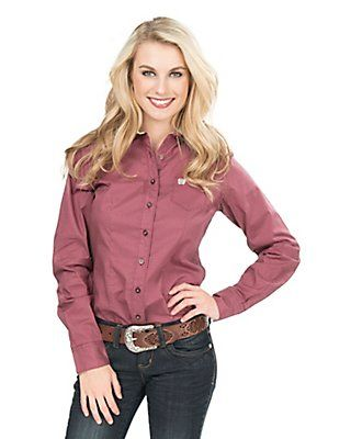 9156cd17 Cinch Women's Burgundy and Tan Print Long Sleeve Western Shirt ...