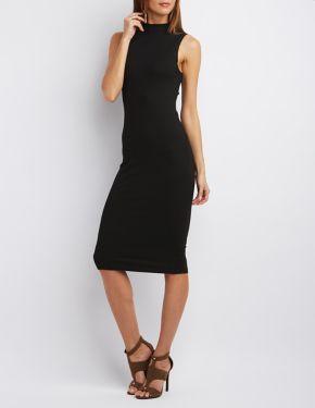 Mock Neck Ribbed Bodycon Dress #CharlotteLook
