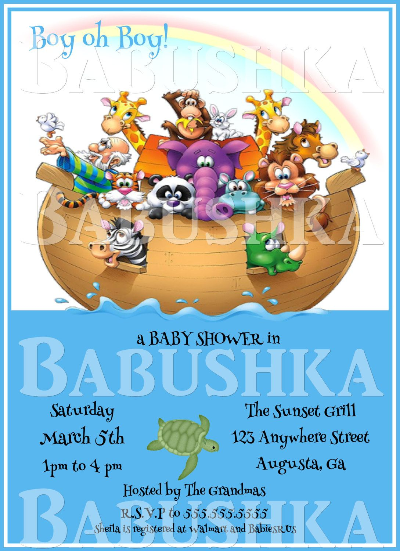 Noah\'s Ark Themed Baby Shower Invitation/ Bible Story Noah\'s Ark ...