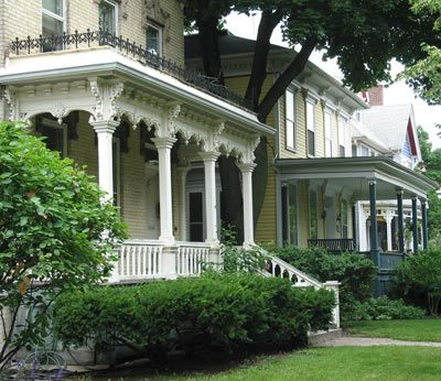 Different Porch Treatments On Adjacent Italianate Houses
