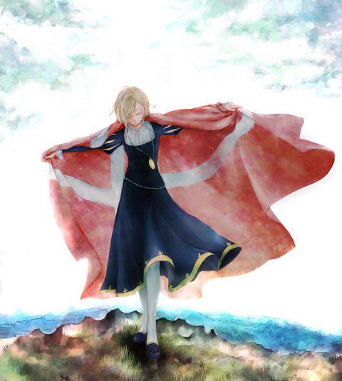 Hetalia (ヘタリア) - Norway (ノルウェー) - with Denmark's flag -「【aph】ちびとねこでんのる」/「ひとまるしき」の漫画 [pixiv]