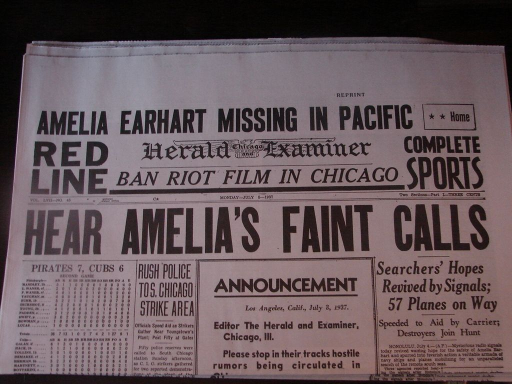 "Chicago Herald Examiner with ""Amelia Earhart Missing in Pacific"" headline, July 5, 1937."