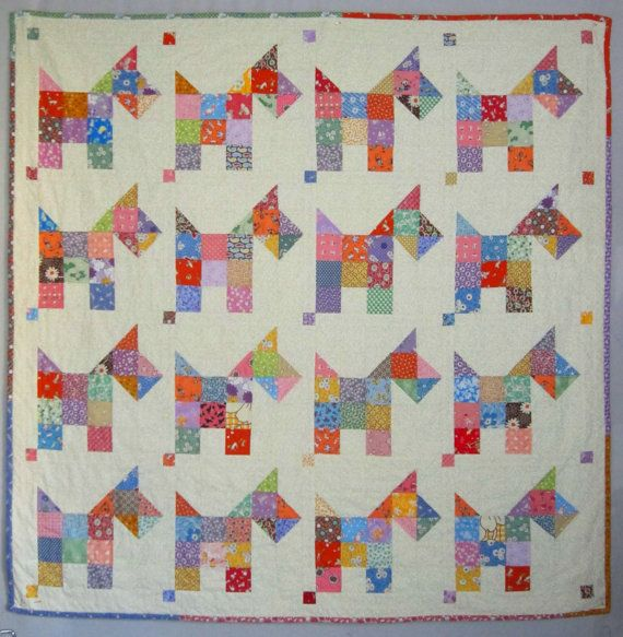 Sweet little scottie dogs, as scrappy as can be. Quick and fun and easy quilt, make it and youll see! The sample quilt was made with all my favorite 1930s fabrics, but SCOTTIES would be adorable in any color palette. SCOTTIES will bring back all those memories of yesteryear, full of love and fun.  SCOTTIES quilt measures 49 square. Pattern is fat quarter friendly, too!  No part of this pattern may be copied or reproduced in any form without written consent.