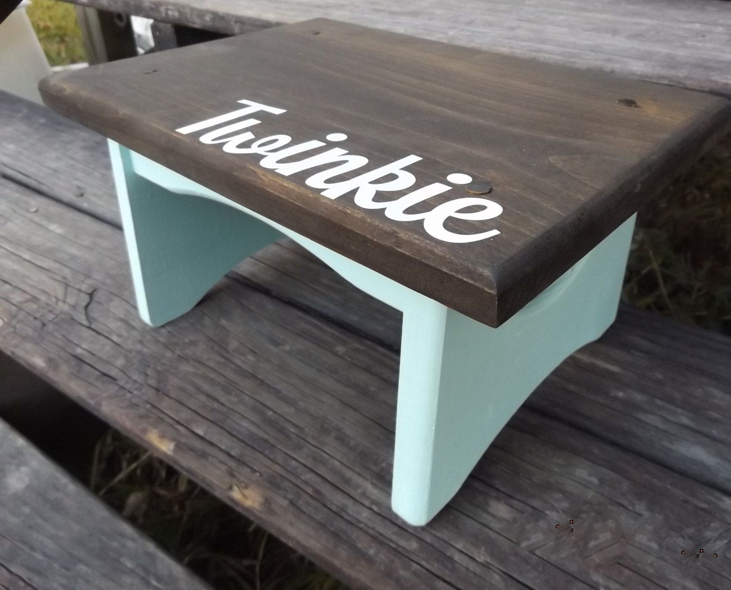 Wooden dollhouse step foot stool wood footstool stepstool furniture - Wooden Child S Step Stool With Name Personalized Walnut Stain Kid Toddler And Mint Shown