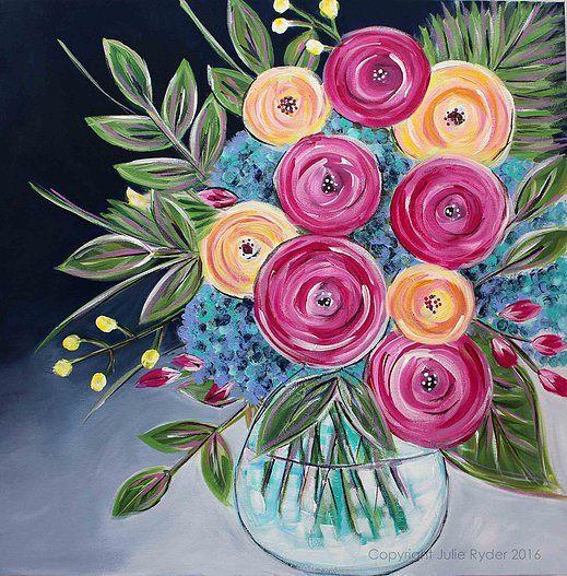 Julie Ryder Flower Art Acrylic Painting Flowers Flower Painting