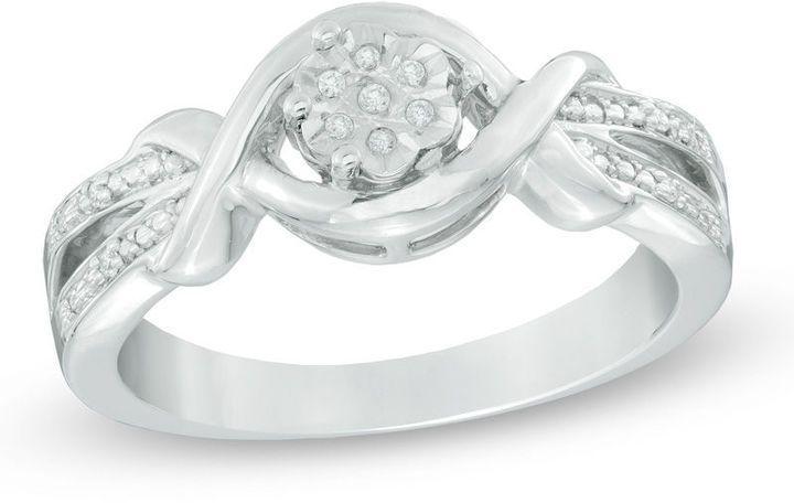 Zales Diamond Accent Flower Split Shank Ring in Sterling Silver 3vwGS64hr