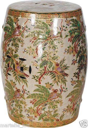 Magnificent Asian Antique Repro Shower Stool Tropical Parrot Porcelain Pabps2019 Chair Design Images Pabps2019Com