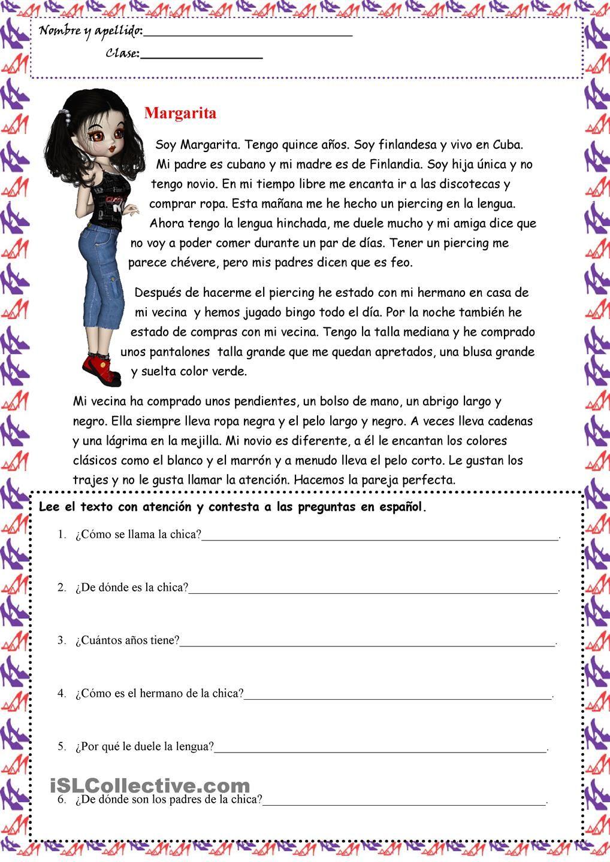 I Am Margarita Hojas De Trabajo Actividades Para Clase De Español Comprensión Lectora