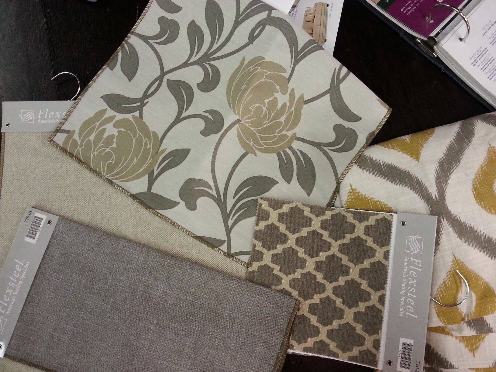 Here are the Flexsteel fabrics I selected Cream for the sofa