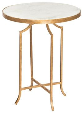 Fiji Hollywood Regency Gold Leaf Marble Round End Table Set Of 2 Side Tables And Accent