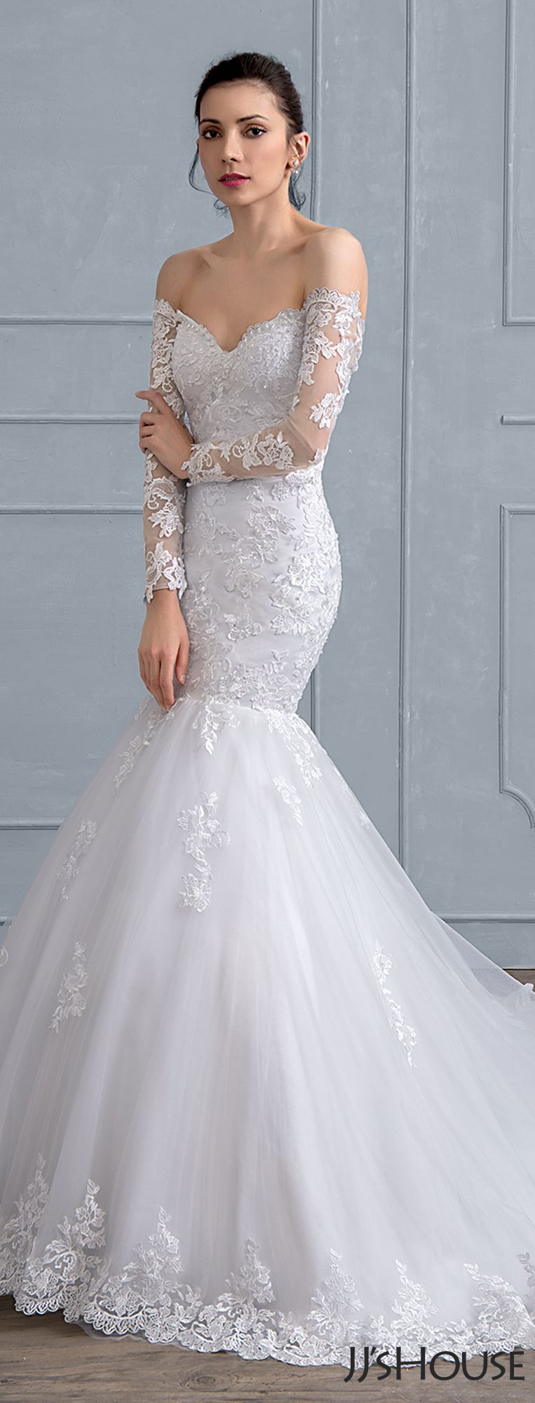 Us 345 00 Trumpet Mermaid V Neck Court Train Tulle Lace Wedding Dress Jj S House Wedding Dresses Lace Online Wedding Dress Affordable Wedding Dresses [ 1562 x 1140 Pixel ]
