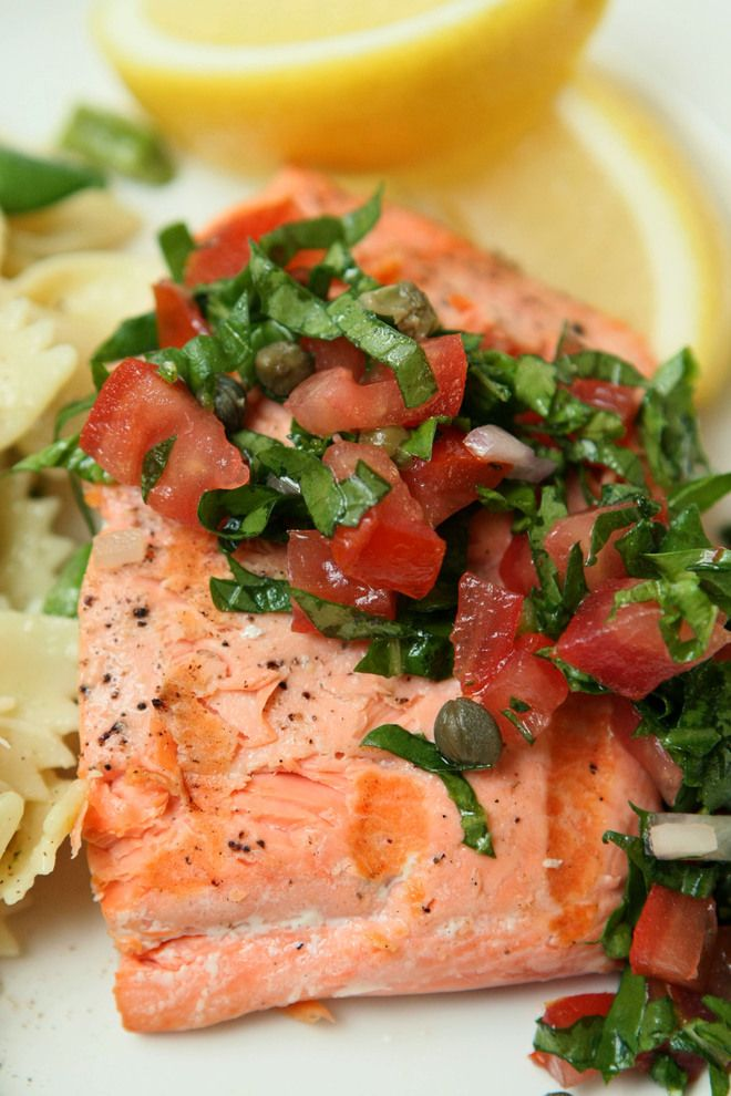 Salmon With Arugula Tomato And Caper Sauce Recipe Clean Eating