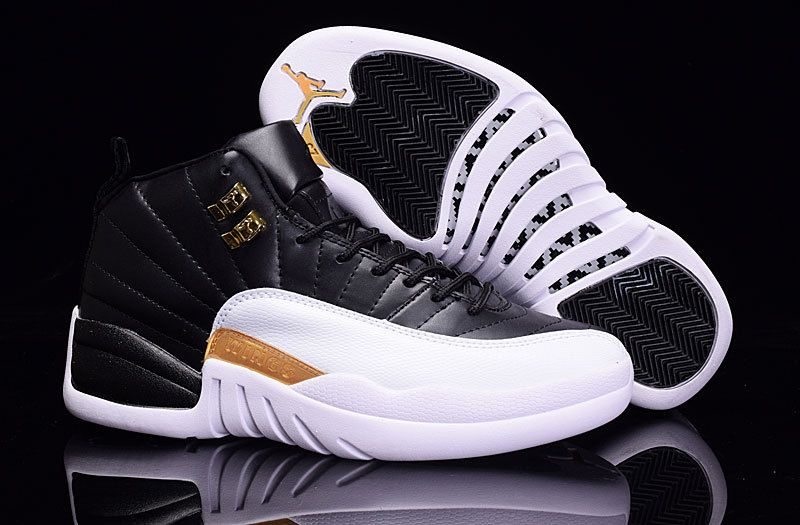 Authentic Cheap Air Jordan 12 New Nike Authentic Cheap Air Jordan Retro XII  12 Basketball Shoe Black White Golden Logo Color for Sale