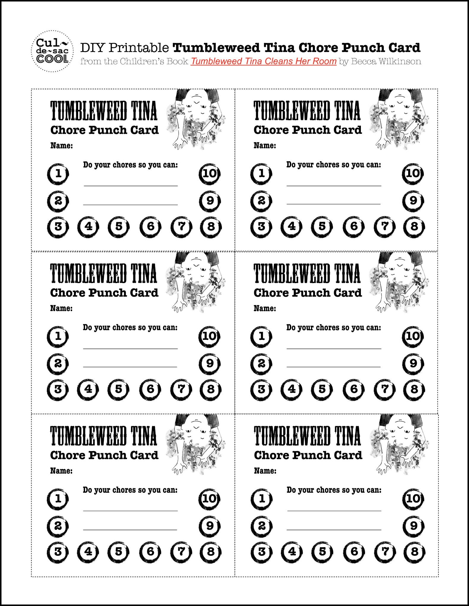 Diy Printable Tumbleweed Tina Chore Punch Card Behavior Punch Cards Punch Cards Card Templates Free